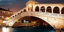 "<p><strong>Venice, Italy</strong></p><p>The <a href=""https://www.britannica.com/topic/Rialto-Bridge"" rel=""nofollow noopener"" target=""_blank"" data-ylk=""slk:first bridge to span the Grand Canals of Venice"" class=""link rapid-noclick-resp"">first bridge to span the Grand Canals of Venice</a>, this 15<span>th-</span>century structure by Antonio da Ponte defied the critics of the time and topped some steeped competition—even Michelangelo offered a design for the planned crossing. The peaked Venetian architecture allows for ship passage underneath. The design, which took three years to build, was created 24 feet high and 75 feet wide to allow space for shops along the sides.</p>"