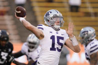 Kansas State quarterback Will Howard throws a pass during the first half of an NCAA college football game against Iowa State, Saturday, Nov. 21, 2020, in Ames, Iowa. (AP Photo/Charlie Neibergall)
