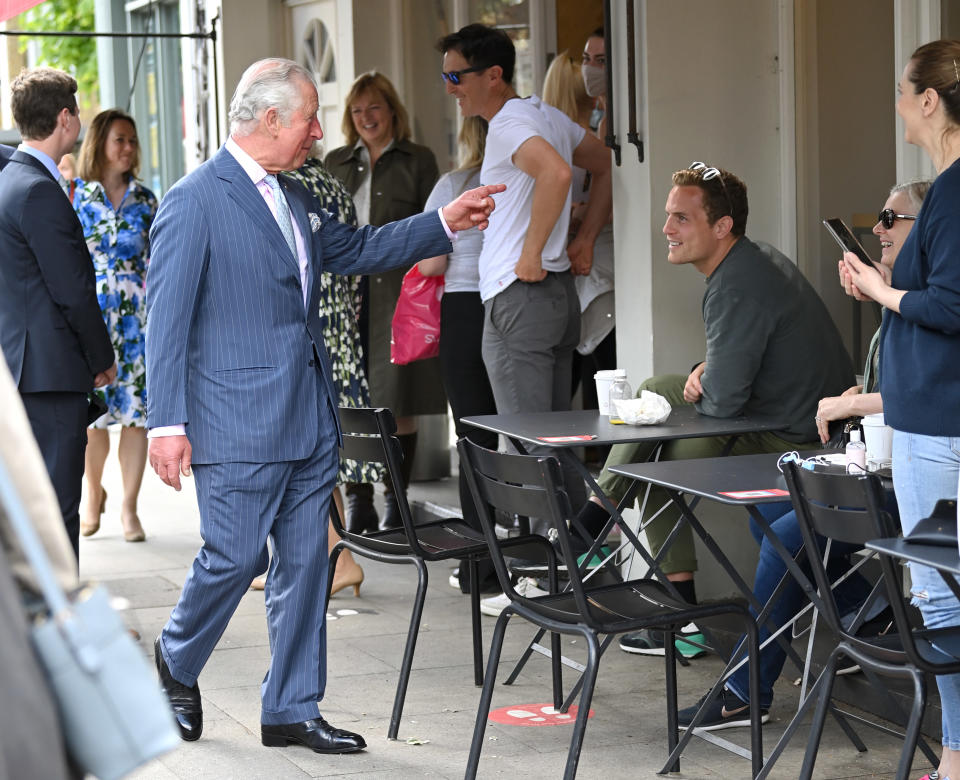 CLAPHAM, ENGLAND - MAY 27: Prince Charles, Prince of Wales and Camilla, Duchess of Cornwall during a visit to Clapham old town on May 27, 2021 in Clapham, England. (Photo by Karwai Tang/WireImage)