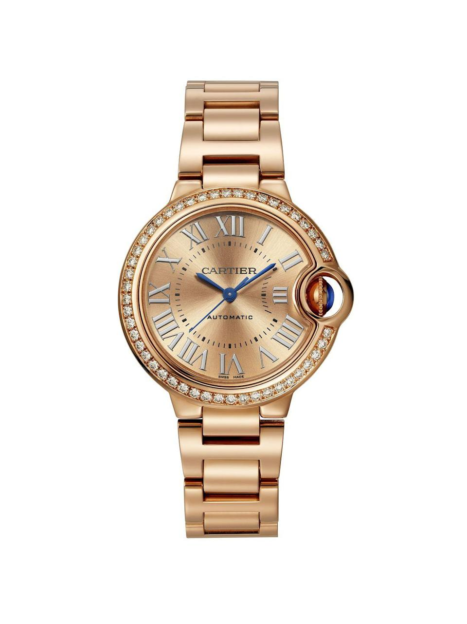 "<p><a class=""link rapid-noclick-resp"" href=""https://www.cartier.com/Item/Index?cod10=11452292647333476&siteCode=CARTIER_GB&langId=4"" rel=""nofollow noopener"" target=""_blank"" data-ylk=""slk:SHOP NOW"">SHOP NOW</a></p><p>First launched in 2006, Cartier's Ballon Bleu is an unusual but nonetheless elegant member of its stable of iconic timepieces, as loved and worn by the Duchess of Cambridge. Its name is derived from the polished blue sapphire cabochon that is mounted in the crown, as well as its spherical 'balloon' shaped case.The very latest iteration is a self-winding model with a 33mm dial, a case set with 47 brilliant-cut diamonds (all the better to highlight that sapphire cabochon) and a 18k pink gold bracelet that can be swapped out for a colourful leather strap.</p><p>Ballon Bleau watch, £35,000, <a href=""https://www.cartier.com/Item/Index?cod10=11452292647333476&siteCode=CARTIER_GB&langId=4"" rel=""nofollow noopener"" target=""_blank"" data-ylk=""slk:Cartier"" class=""link rapid-noclick-resp"">Cartier</a></p>"