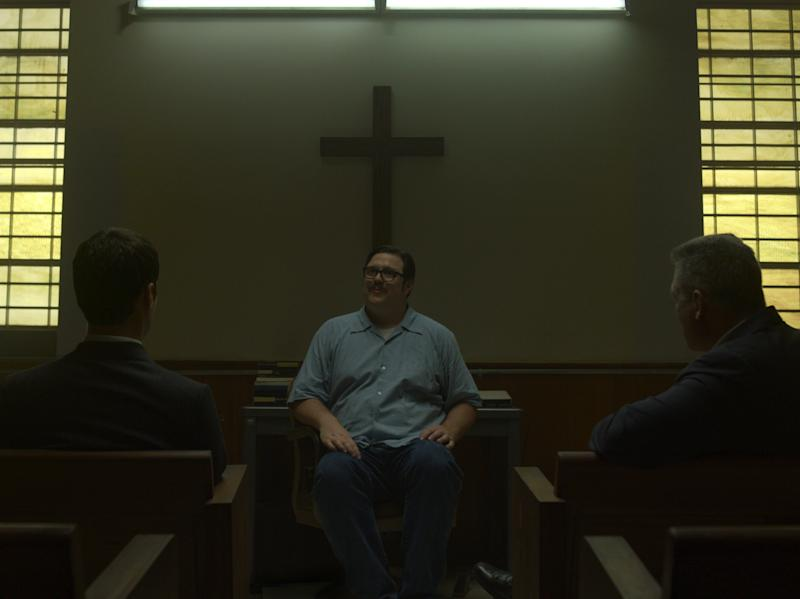 Chilling: Cameron Britton (centre) as Ed Kemper in the Netflix series 'Mindhunter'Courtesy of Netflix