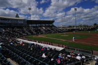 The Boston Red Sox play the Minnesota Twins during a spring training baseball game on Sunday, Feb. 28, 2021, in Fort Myers, Fla. (AP Photo/Brynn Anderson)