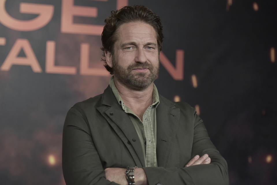 """Gerard Butler attends a photo call for """"Angel Has Fallen"""" at the Four Seasons Hotel on Friday, Aug. 16, 2019, in Los Angeles. (Photo by Richard Shotwell/Invision/AP)"""