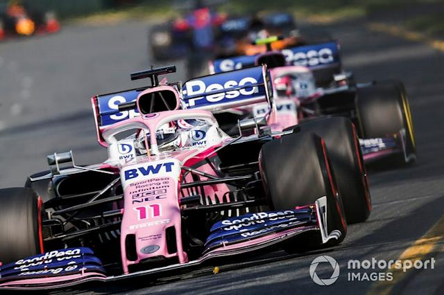 """Sergio Perez, Racing Point RP19, y Lance Stroll, Racing Point RP19 <span class=""""copyright"""">Joe Portlock / Motorsport Images</span>"""
