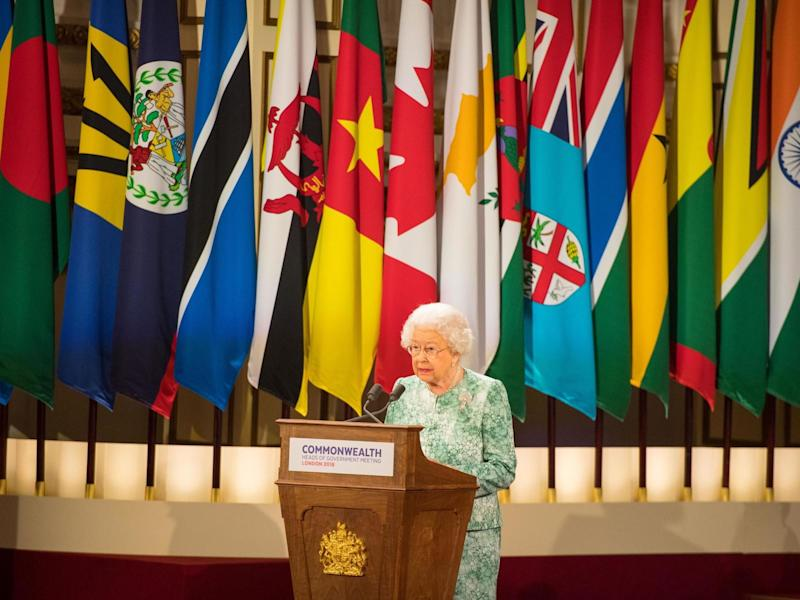 The Queen speaking at the 2018 commonwealth heads of government meeting at Buckingham Palace: AFP via Getty Images