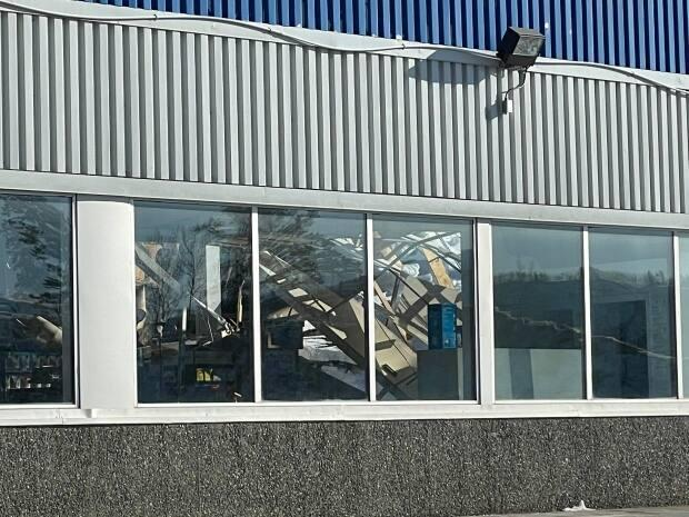A closer view of the damage after a portion of the roof of the Riverdale Super A grocery store in Whitehorse collapsed on April 2. The roof is believed to have caved in due to the weight of snow. There were no injuries.