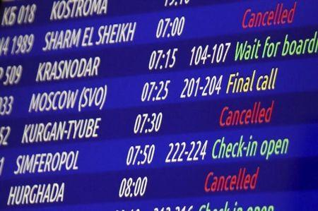 A view shows an information board at Pulkovo airport outside St. Petersburg