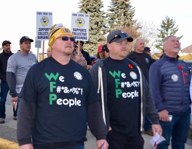 Vancouver Island union members show their discontent with Western Forest Products in November. 'They've made hundreds of millions of dollars in profits over the last several years and we think they can certainly afford a few increases in costs in order to keep the province's economy healthy,' said logging truck driver Joe Strachan (not pictured).