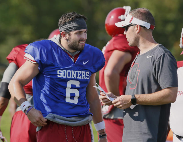 Oklahoma QB Baker Mayfield is back for his senior season with Lincoln Riley now as his head coach. (AP Photo/Sue Ogrocki, File)