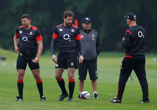 Rugby Union - England Training - Pennyhill Park, Bagshot, Britain - May 24, 2018 England's Ben Youngs, Danny Cipriani and head coach Eddie Jones during training Action Images via Reuters/Andrew Couldridge
