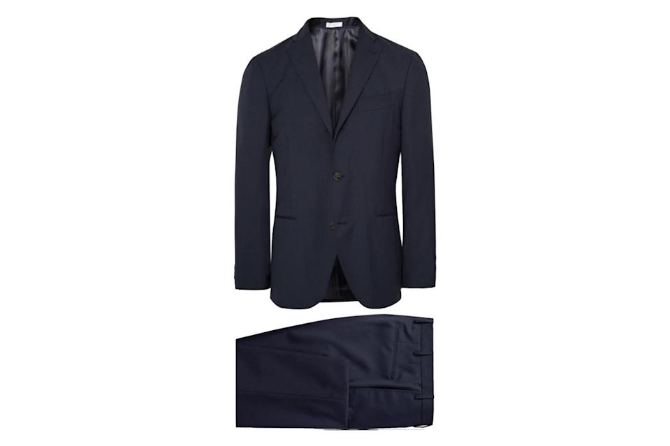 """Given the state of the world, it's probably been a minute since you've needed to wear a suit. But whenever the occassion arises again, this is the one you'll want: unstructured and comfortable, in a deep, elegant navy that looks grand with everything.<br> <br> <em>Boglioli Dover slim-fit virgin wool suit</em> $1295, Mr Porter. <a href=""""https://www.mrporter.com/en-us/mens/product/boglioli/clothing/suits/blue-dover-slim-fit-virgin-wool-suit/4146401442943776"""" rel=""""nofollow noopener"""" target=""""_blank"""" data-ylk=""""slk:Get it now!"""" class=""""link rapid-noclick-resp"""">Get it now!</a>"""