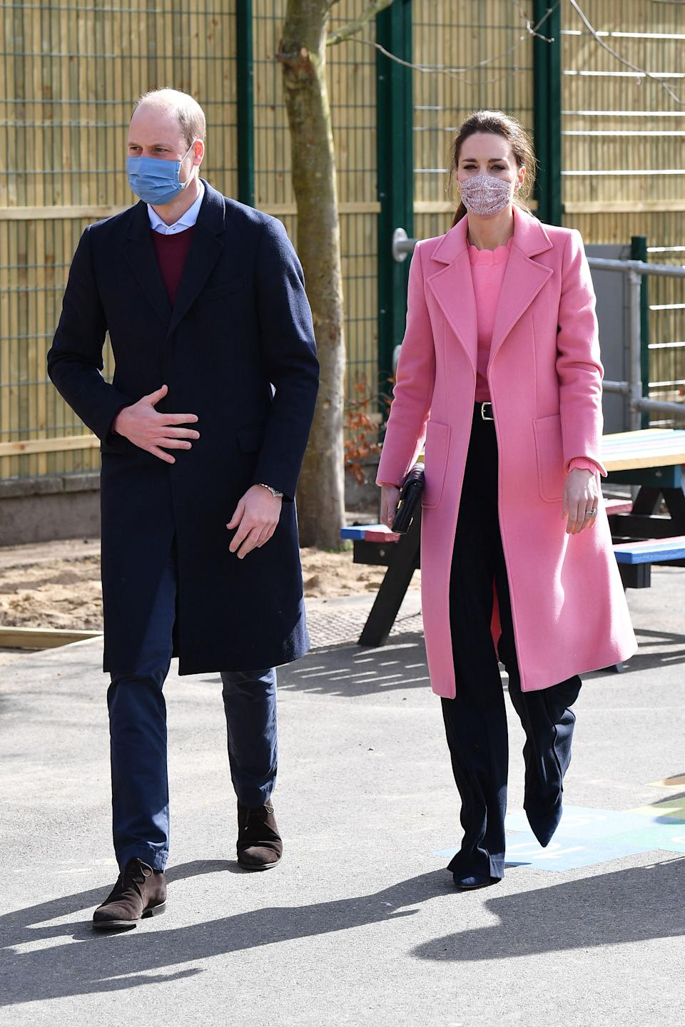 The Duke and Duchess of Cambridge visited School21 following its re-opening after the easing of coronavirus lockdown restrictions in east London on 11 March, 2021. (Getty Images)