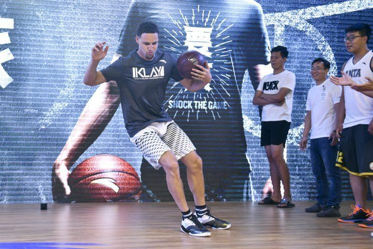 Klay Thompson is loving life touring China. (Getty)