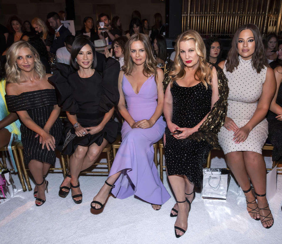 Sarah Michelle Gellar, from left, Lucy Liu, Alicia Silverstone, Jennifer Coolidge and Ashley Graham attend the Christian Siriano show during Fashion Week on Saturday, Sept. 7, 2019 in New York. (Photo by Charles Sykes/Invision/AP)