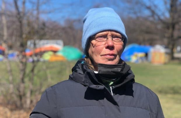 Susan Gibson, an encampment resident who has been living in a tent at Trinity Bellwoods Park since last summer, said she is not convinced she would be safe in a shelter. 'I'm so relieved,' Gibson said after the city paused its plan to clear encampments. She didn't want to be forced into a shelter.