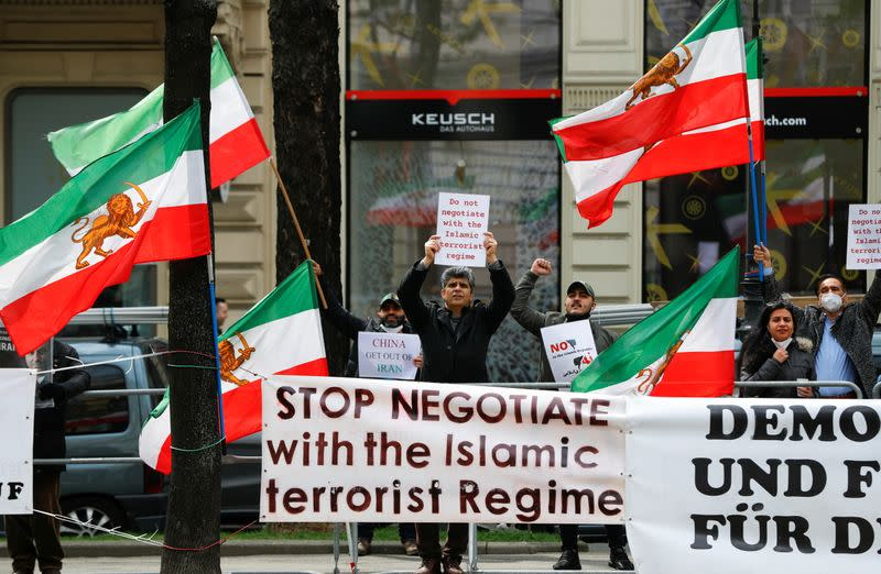 Iranian opposition group protests during the JCPOA Joint Commission meeting in Vienna