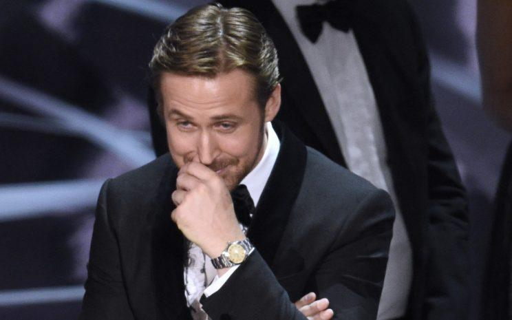 Ryan Gosling reacts as <em>Moonlight</em> is announced as the actual winner of Best Picture at the Oscars. (Photo: Chris Pizzello/Invision/AP)