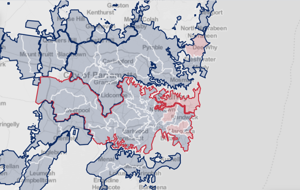 A map shows Covid fragments detected in Sydney sewage catchments.