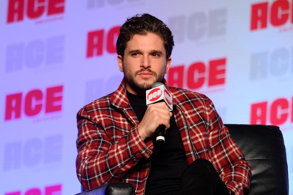 CHICAGO, ILLINOIS - OCTOBER 13: Kit Harington speaks on stage during ACE Comic Con Midwest at Donald E. Stephens Convention Center on October 13, 2019 in Rosemont, Illinois. (Photo by Daniel Boczarski/Getty Images)