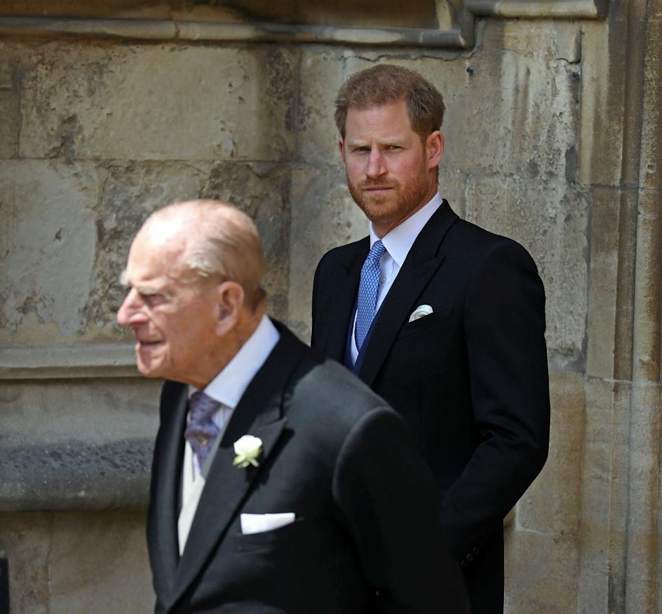Britain's Prince Philip, The Duke of Edinburgh and the Duke of Sussex leave after the wedding of Lady Gabriella Windsor and Thomas Kingston at St George's Chapel in Windsor Castle, near London, Britain May 18, 2019. Steve Parsons/Pool via REUTERS