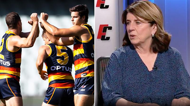 Caroline Wilson is among the many critics of the sanctions handed to the Adelaide Crows by the AFL. Pic: Getty/Channel 9