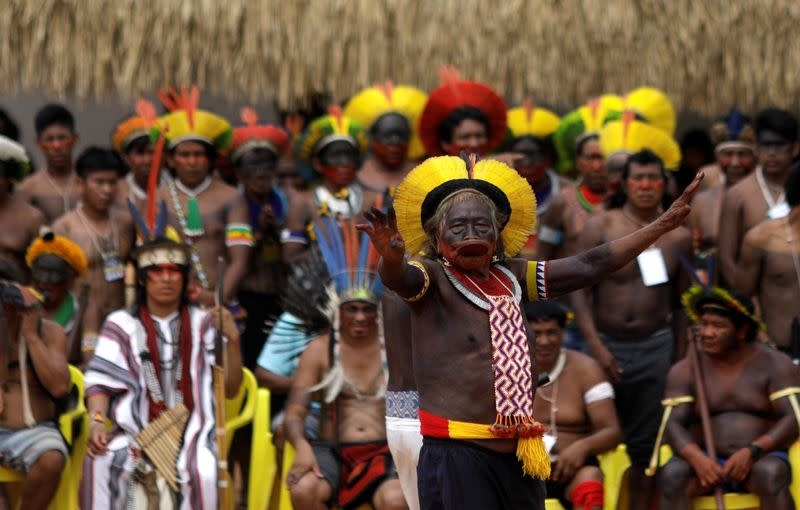 Indigenous leader Cacique Raoni of Kayapo tribe delivers a speech during a four-day pow wow near Sao Jose do Xingu