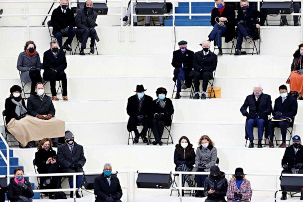 PHOTO: Guests socially distance during the inauguration of Joe Biden as the 46th President of the United States on the West Front of the U.S. Capitol in Washington, Jan. 20, 2021. (Brendan Mcdermid/Reuters)