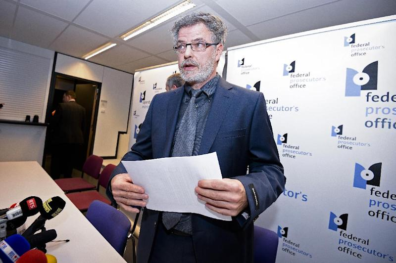 Belgium's federalprosecutor Eric Van der Sypt gives a press conference in Brussels, on January 15, 2015 after an anti-terrorist operation during which two were reportedly killed