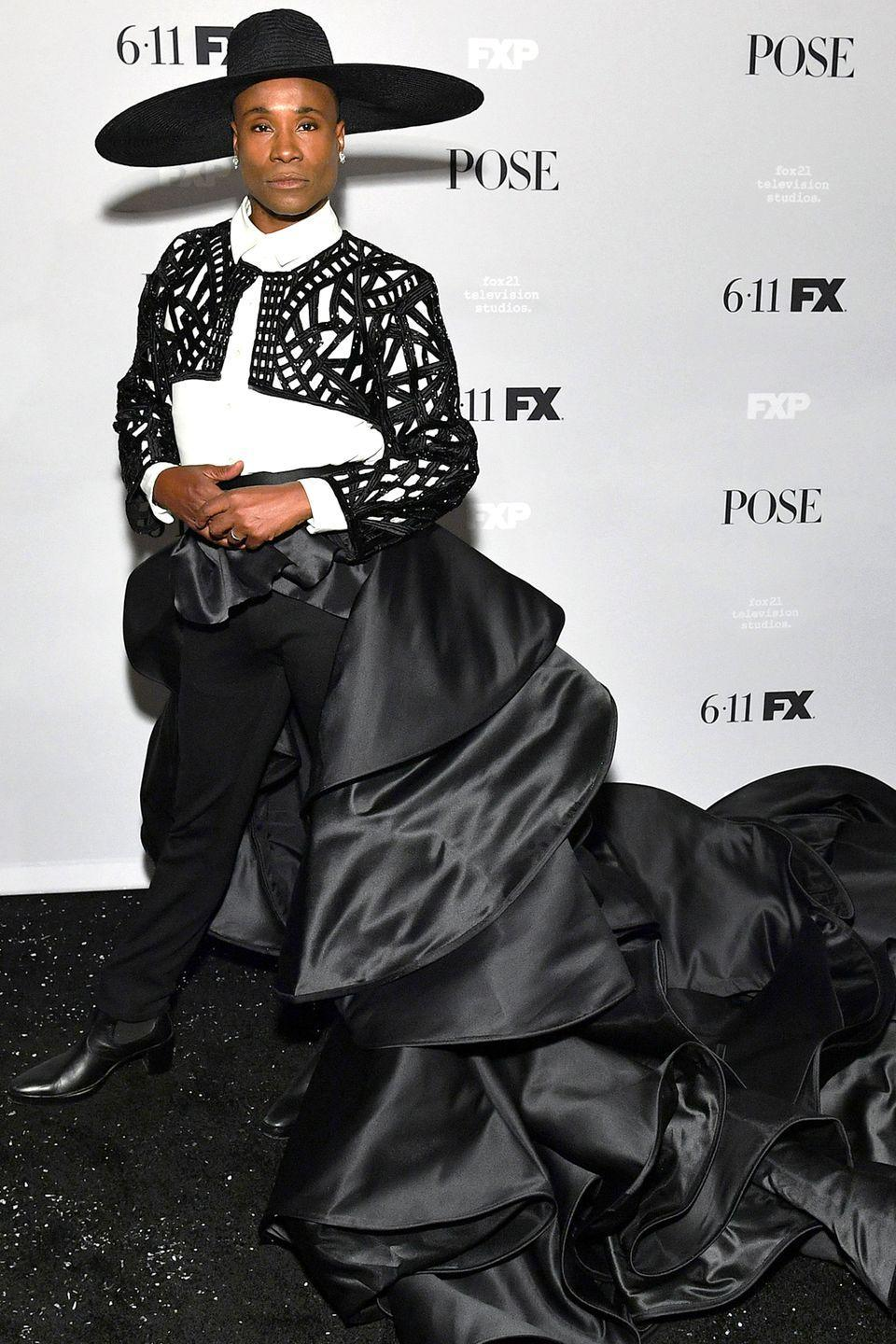 """<p>Who: Billy Porter </p><p>When: June 05, 2019</p><p>Wearing: Francis Libiran </p><p>Why: """"I feel like a Matador Kween!"""" Billy Porter captioned this look on <a href=""""https://www.instagram.com/p/ByWXziQld7d/"""" rel=""""nofollow noopener"""" target=""""_blank"""" data-ylk=""""slk:Instagram"""" class=""""link rapid-noclick-resp"""">Instagram</a>. """"Coming for all the bullies and killing them with love and slayage."""" We couldn't agree more with his statement—or his outfit at the NYC premiere of <em>Pose—</em>more. </p>"""
