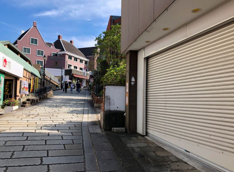 FILE PHOTO: An empty street is seen near the previously crowded Oura Cathedral, a popular attraction among tourists, amid the coronavirus disease (COVID-19) outbreak in Nagasaki
