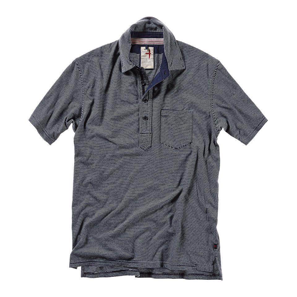 """<p><strong>Relwen</strong></p><p>huckberry.com</p><p><a href=""""https://go.redirectingat.com?id=74968X1596630&url=https%3A%2F%2Fhuckberry.com%2Fstore%2Frelwen%2Fcategory%2Fp%2F61530-finespun-stripe-polo&sref=https%3A%2F%2Fwww.menshealth.com%2Fstyle%2Fg33472054%2Fhuckberry-semi-annual-summer-sale-mens-deals%2F"""" rel=""""nofollow noopener"""" target=""""_blank"""" data-ylk=""""slk:BUY IT HERE"""" class=""""link rapid-noclick-resp"""">BUY IT HERE</a></p><p><del>$98.00</del><strong><br>$77.98</strong></p><p>While you can never have too many T-shirts, do your closet a favorite and switch things up with by adding a polo to the mix. This lightweight option is polished, but not too polish that you'll feel guilty wearing it for casual occasions. </p>"""