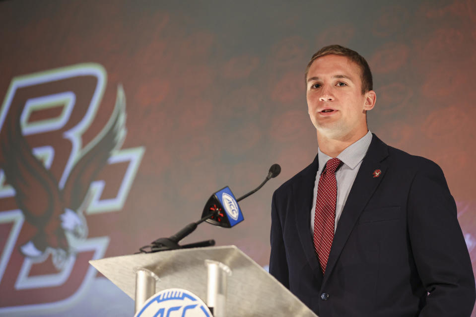 Boston College quarterback Phil Jurkovec answers a question during an NCAA college football news conference at the Atlantic Coast Conference media days in Charlotte, N.C., Thursday, July 22, 2021. (AP Photo/Nell Redmond)