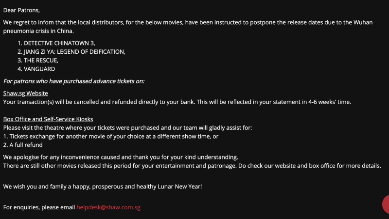 A notice on Shaw Theatres' website. (Screencap)