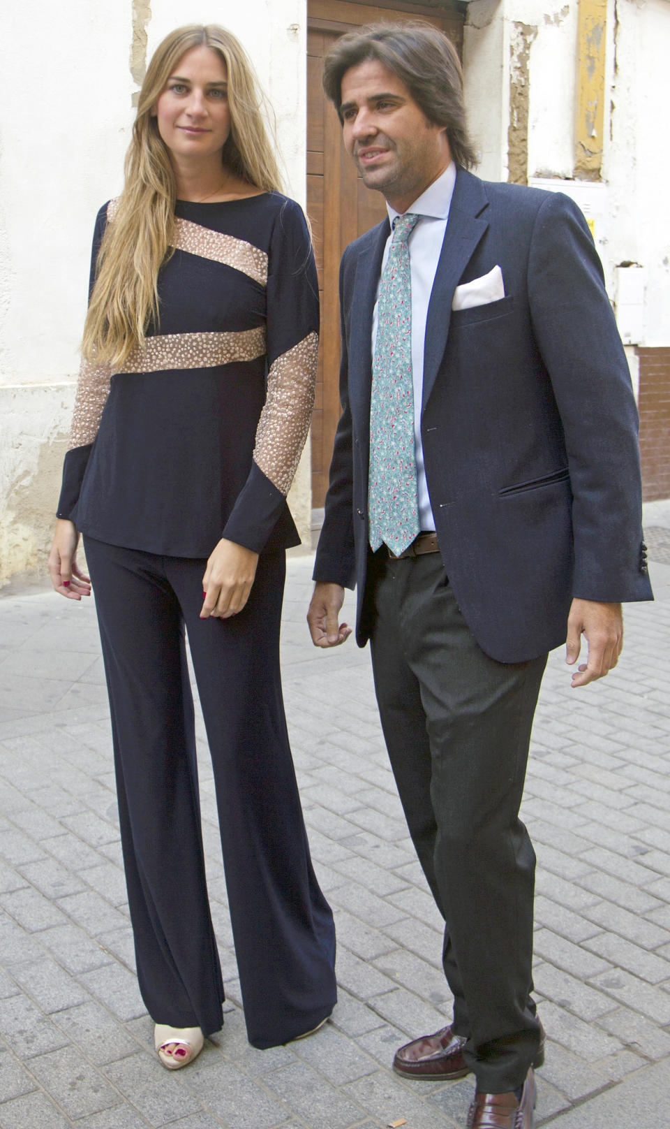 SEVILLE, SPAIN - OCTOBER 23: Sibi Montes and Alvaro Sanchis attend the christening of Fran Rivera and Lourdes Montes's daughter Carmen Rivera on October 23, 2015 in Seville, Spain.  (Photo by Europa Press/Europa Press via Getty Images)