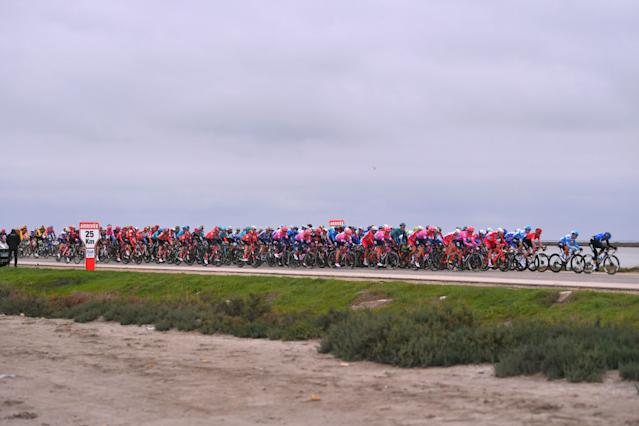 SAINTESMARIESDELAMER FRANCE FEBRUARY 13 Peloton Landscape during the 5th Tour de La Provence 2020 Stage 1 a 1495km stage from Chteaurenard to SaintesMariesDeLaMer TDLP letourdelaprovence TDLP2020 on February 13 2020 in SaintesMariesDeLaMer France Photo by Luc ClaessenGetty Images