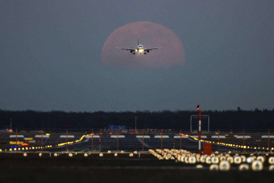 19 February 2019, Hessen, Frankfurt/Main: A passenger plane is landing at Frankfurt Airport, while the full moon is rising in the background.