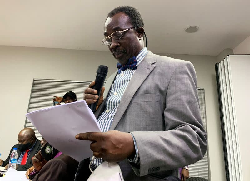 Adesina Ogunlana, the lawyer for the protesters, attends a judicial panel in Lagos
