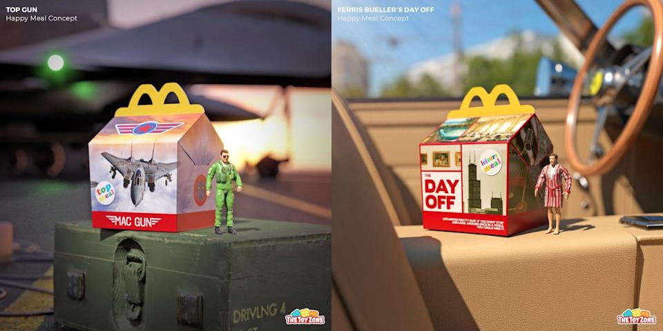 Fake Happy Meal boxes and toys for Top Gun and Ferris Buehler's Day Off