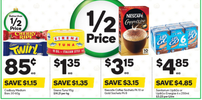 Chocolate, tuna, coffee and liquid breakfast selling for 50%-off at Woolworths.