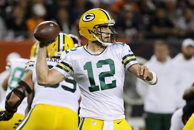 Aaron Rodgers overcame a slow start in the 2019 season opener against the Bears. (Getty Images)