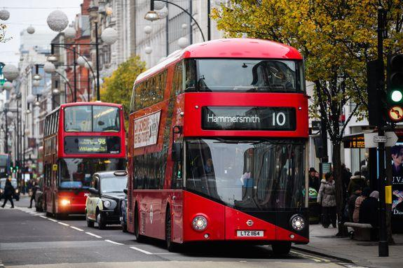 Mandatory Credit: Photo by Dinendra Haria/REX/Shutterstock (7542696b) Buses on Oxford Street Buses on Oxford Street, London, UK - 02 Dec 2016