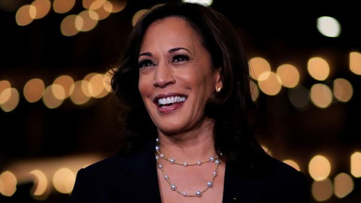 Sen. Kamala Harris stuck with her signature pearls.