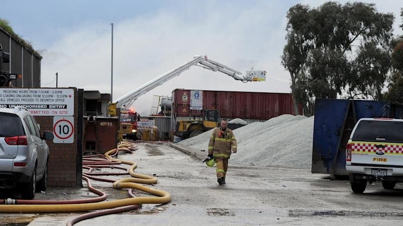 Firefighters have been battling the blaze at the SKM Recycling building since last week.