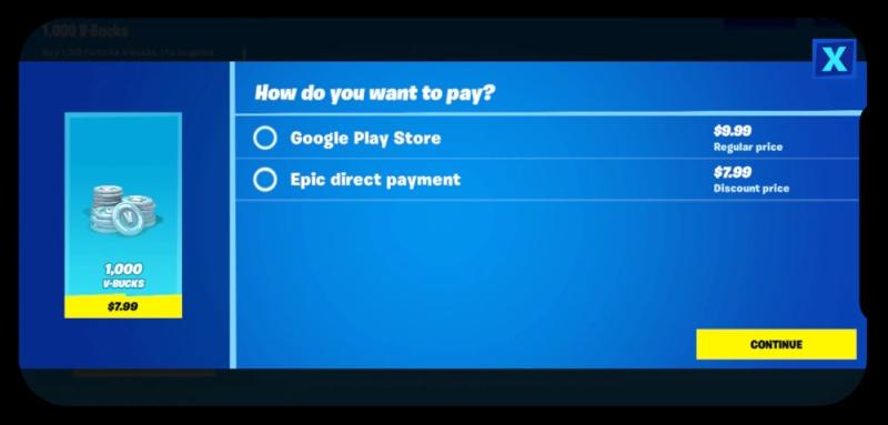 Fortnite direct payment option - Google Play