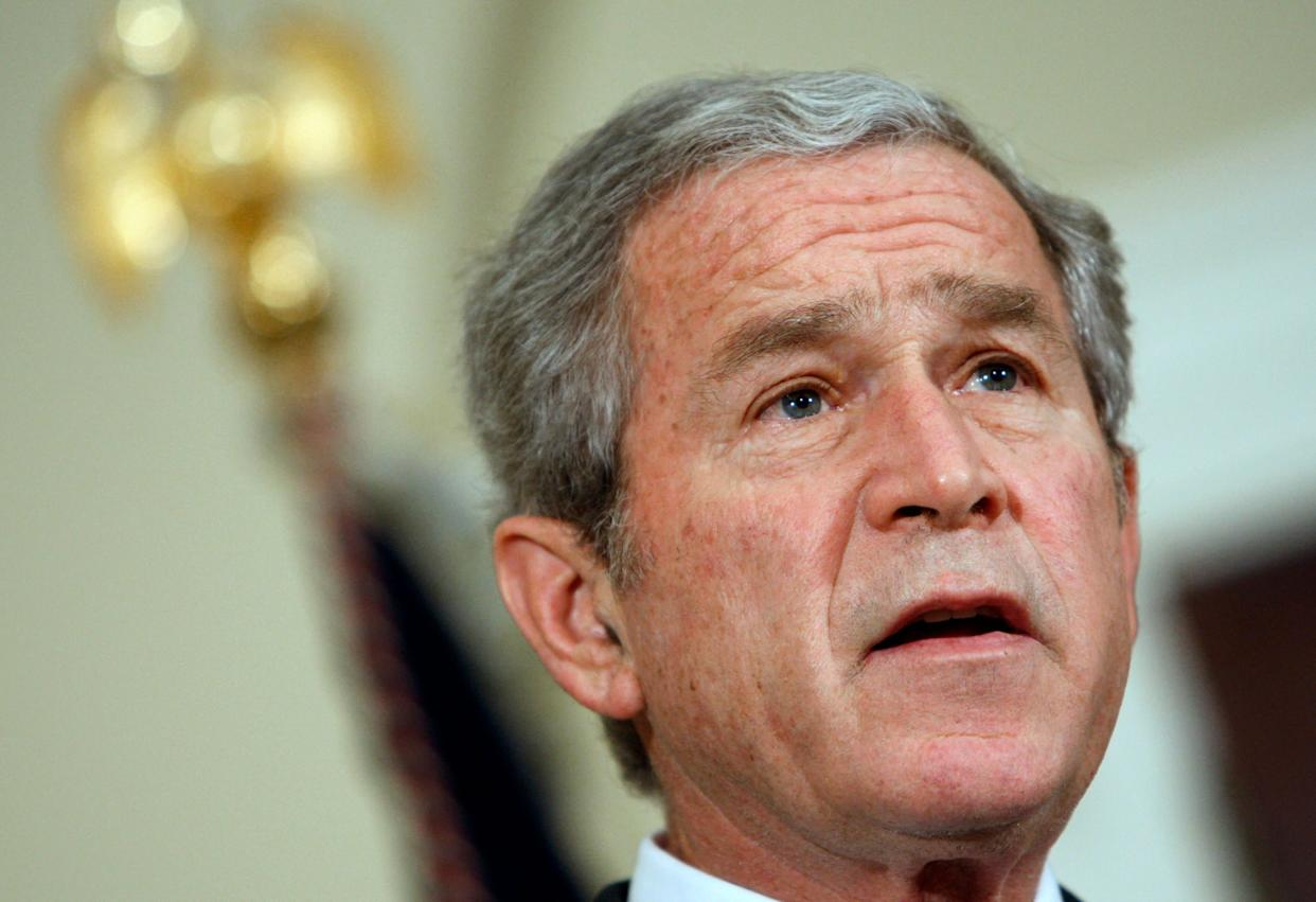 """<strong> """"And they have no disregard for human life.""""</strong> -- July 15, 2008, at the White House. Bush was referring to enemy fighters in Afghanistan. <a href=""""http://www.huffingtonpost.com/2009/01/03/bushisms-over-the-years_n_154969.html"""" rel=""""nofollow noopener"""" target=""""_blank"""" data-ylk=""""slk:Source: The Associated Press"""" class=""""link rapid-noclick-resp"""">Source: The Associated Press</a> (AP Photo/Ron Edmonds, File)"""