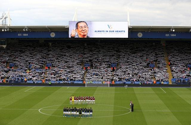Leicester came from behind to defeat Burnley 2-1 on a day when their late chairman Vichai Srivaddhanaprabha was remembered at the King Power Stadium (Nigel French/PA)