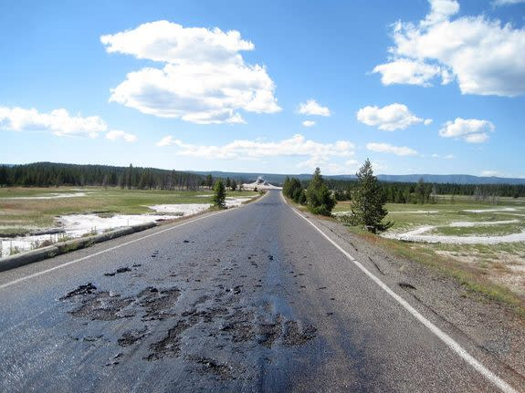 Road Melts from Yellowstone Volcano's Heat