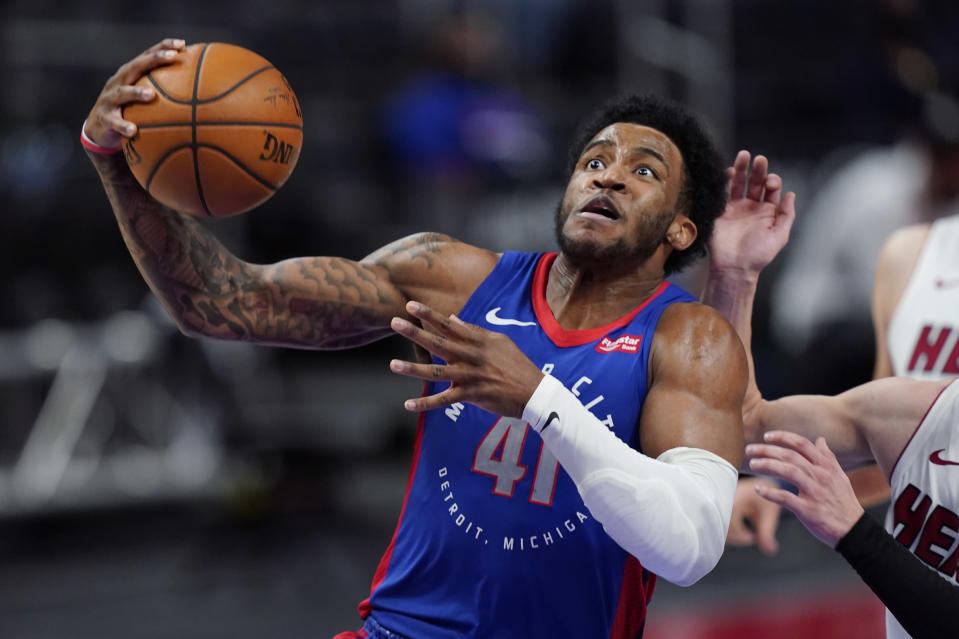 Detroit Pistons forward Saddiq Bey plays during the second half of an NBA basketball game against the Miami Heat, Sunday, May 16, 2021, in Detroit. (AP Photo/Carlos Osorio)