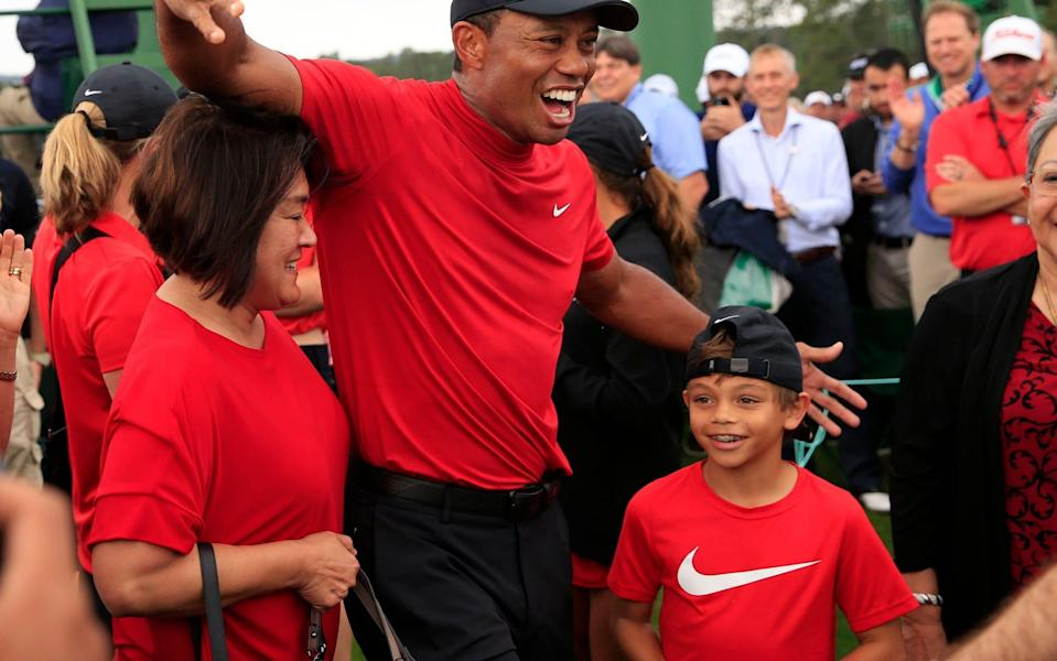 Tiger Woods celebrates with his son Charlie after winning the 2019 Masters - REX