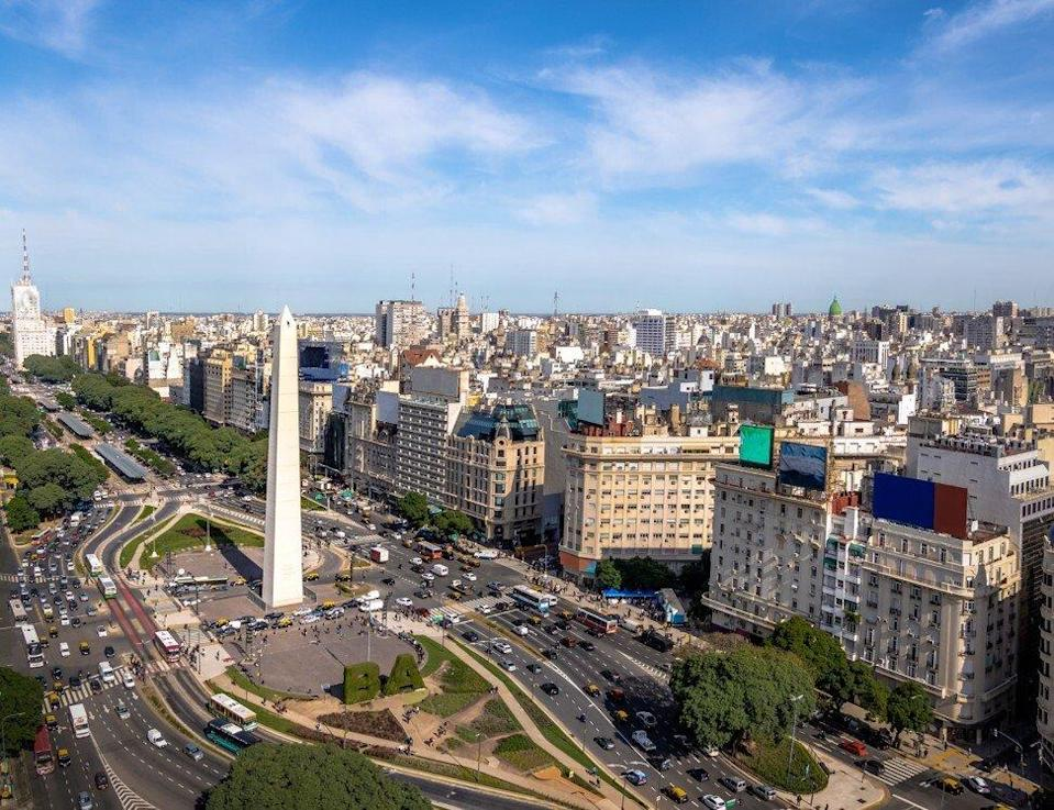 Aerial view of Buenos Aires in Argentina, with the Obelisk near 9 de julio avenue. Photo: Shutterstock Images